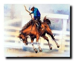 Wholesale Rodeo Cowboy - Framed Western Rodeo Cowboy Riding Home Decor Art,Pure Hand Painted Art Oil Painting On Thick Canvas,Mulit sizes Free Shipping Wc002