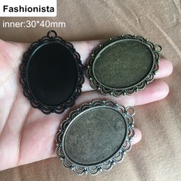 Wholesale Cameo Cabochon Black - 20 Large Oval Filigree Cabochon Base Settings,Inside 30*40mm,Antique Bronze Silver Black,Cameo Settings Pendant Tray Bezels