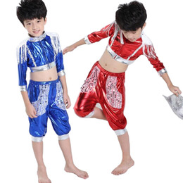 Wholesale Dance Costumes For Boys - Girls Jazz dancewear costume Tops+Pants Kids Modern Sequined Stage Ballroom Stage Wear Dance costumes Black Dancing clothes for Boys