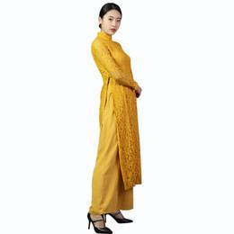 Wholesale Chinese Two Piece Dress - Vintage Elegant New Lace Cheongsam Chinese Women's Dress Print Split Tow-piece Grace Long Evening Dress yellow
