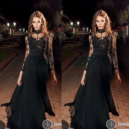 Wholesale Transparent Bandage Dress - Elie Saab Prom Gowns Floor Length High Neck Lace Appliques Transparent Long Illusion Sleeve A Line Chiffon Black Evening Dresses