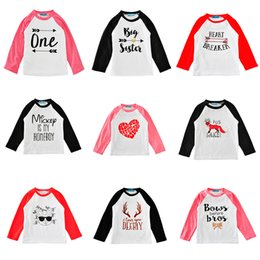 Wholesale Boys Round Neck T Shirts - Ins Kids T-shirts Long-sleeve 29 Colors Fashion Letters Cartoon Print Baby Boys Girls Tees Kids Tops Clothes 1-5T
