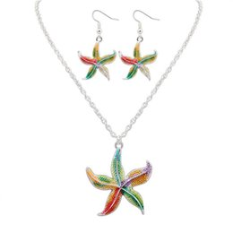 Wholesale Starfish Necklace Jewelry Set - Enamel Colorful lovely starfish animail Necklace Pendant Dangle Earrings Jewelry Set For Women Gothic style unique fashion jewelry