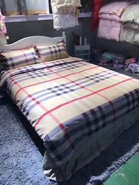 Wholesale Branded Bedding Sets - Brand Plaid Bedding Sets Plaid Duvet Covers for King Size Bed Europe Style Plaid Bedding Duvet Cover Sheets Pillow Cover Pillowcase