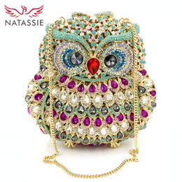 Wholesale Owl Phone Purse - Wholesale-New Arrival Fashion Luxury Crystal Women Cluth Animal Prints Handbag Lady Evening Bag With Chain Owl High Quality Party Purse