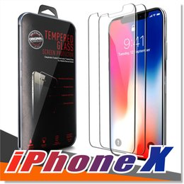 Wholesale Cellphone Glasses - For Iphone X 8 7 Samsung S8 S7 Tempered glass Screen Protector Anti-fingerprint for most of the cellphones With Premium quality retailbox