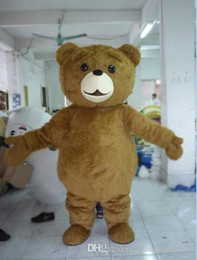 Wholesale Ted Plush Doll - 2017 long plush ted brown bear mascot costume cute cartoon clothing factory customized private custom props walking dolls doll clothing
