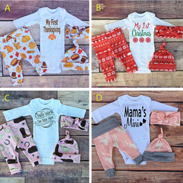 Wholesale Leopard Clothed - 5 Style Baby boy girls INS letters leopard romper+pants+hat+Hair band 4 pcs sets Children Christmas rompers newborn clothes B001