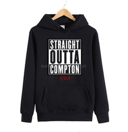 Wholesale Cool Mens Winter Hats - Wholesale-Winter Straight Outta Compton Mens Hoodies Eazy E NWA Dr.Dre Cool Hip Hop Sweatshirt Black Red Fashion Print with Hat Pullover
