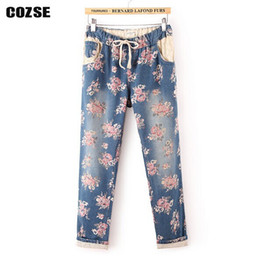 Wholesale Women Straight Leg Jeans - Wholesale- jeans woman elastic waist draw string printed flanging pants straight leg trouser women free shipping a1024