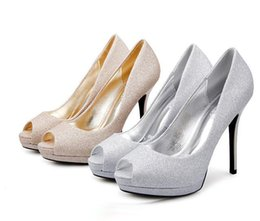 Wholesale Gold Glitter Womens Heel - Fashion womens wedding shoes sequined cloth silver gold platform high heel peep toe pumps Size 34 to 39