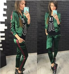 Wholesale Ladies Baseball Jackets - Sports Jogging Suits For Women Casual Sportswear ladies Two Piece Outfits Tracksuits Baseball jacket + Sweatpants wholesale-2017