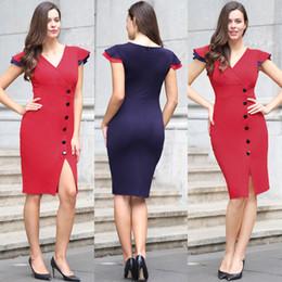 Wholesale Wholesale Work Dresses - Ruffle Sleeve V Neck Patchwork Wear To Work Dresses Summer New Arrival Women Bottom Button Split Pencil Dress