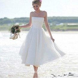 Wholesale Short Strapless Dress Length Tea - Boho Summer Bohemian Beach Wedding Dress A Line Strapless Tea Length Short Bridal Party Gown Plus Size Vestido De noiva