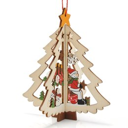 Wholesale Ornaments For Christmas Tree - Christmas decoration wood heart tree and bell hanging decor free shipping Christmas Three-dimensional decoration for home