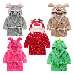 Wholesale Hooded Beach Robe - 2017 Baby Flannel Bathrobe Pajamas Cartoon elephant tiger Bath Beach Blankets Towels Autumn Winter Hooded Warm Sleep Robes nightgowns z063