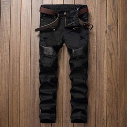 Wholesale mens designer jeans long straight - Fashion Designer Mens Ripped Biker Jeans Leather Patchwork Slim Fit Black Moto Denim Joggers For Male Distressed Jeans Pants