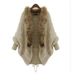 Wholesale Crochet Collar Scarves - Wholesale-Fashion Woman Open Stitch Batwing Sleeve Knitted Cloak Cape Scarf Fur Collar Loose Long Cardigan Crocheted Thick Winter Jacket