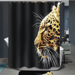 Wholesale Animal Print Shower Curtain - Wholesale- 180x180cm3D Waterproof Personalized Special Effect Leopard Head Wild Animal Print Shower Curtain Bath Curtain With Hooks