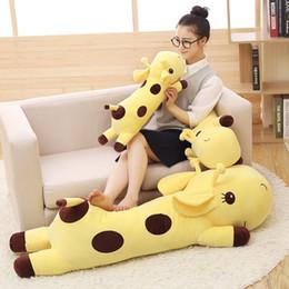 Wholesale Plush Giraffe Pillow - 5Colors Cartoon Giraffe Pillow Baby Doll Children Soft Stuffed Plush Animals Toys Lumbar Sleep Pillow Birthday Gift 40 60 90 110 130cm