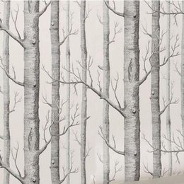 Wholesale green tree wallpapers - Wholesale-Birch Tree Pattern Non-woven Woods Wallpaper Roll Modern Designer Wallcovering Simple Black And White Wallpaper For Living Room