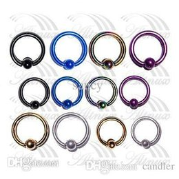 Wholesale Nipple Rings Titanium - Free Shipping Titanium Captive Ring BCR Eyebrow Tragus Nose Nipple Ring Bar CBR Lips Piercings 10mm 2015 New Arrival Promotion