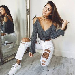Wholesale Deep V Neck Tops Women - 2017082505 Sexy Women Sweaters Deep V Neck Pullover Off shoulder Lace Up Long Flare Sleeve Casual Tops poncho mujer invierno