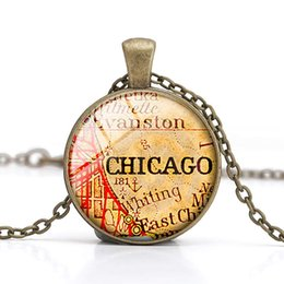 Wholesale Houston Jewelry - Chicago Pendant Necklace City Map Dome Glass Cabochon Crystal Houston Vintage Handmade DIY Jewelry Children Gift Wholesale