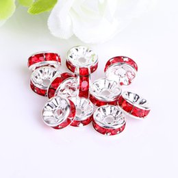Wholesale Clear Flat Beads - Cheap Jewelry Wholesale 6MM 8MM  10MM Clear Crystal Rhinestone Rondelle Red Spacer Beads, Silver Plated Jewelry Findings 100PCS