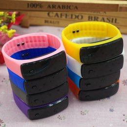 Wholesale Wrist Candy Wholesale - Fashion Sport LED Watches Candy Jelly men women Silicone Rubber Touch Screen Digital Watches Bracelet Wrist watch dhl