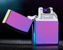 Wholesale Sexy Cigarette Lighters - Double fire cross twin arc electric arc gold colorful charge usb lighters smoker sexy colorful ice Windproof Cigarette Lighter