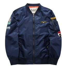 Wholesale Men S Coat Large Size - Wholesale- Mens Bomber Jacket Pilot Coats Flight Flying Jackets Clothes ASST Air Force One MA01 Brand Clothing Large Size 5XL 6XL 2017