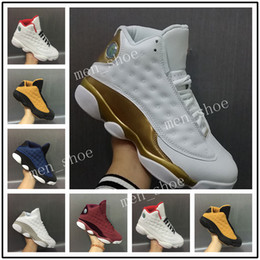 Wholesale Jump Boxes - With Box 2017 Mens Basketball Shoes 13 Air Jump men Retro Brave Blue GS Pure Money White Metallic Silver Platinum Sports Sneakers US8-US13