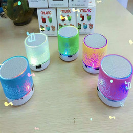Wholesale Disc Player - 2016 hotsale Mini portable S10A9 crackle texture Bluetooth Speaker with LED light can insert U disc, mobile phone player with retail box