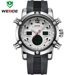 Wholesale Weide Digital Analog Gold - WEIDE Luxury Brand Men Sports Watches Men's Quartz Digital LED Army Military Watch Waterproof Wristwatches Relogio Masculino