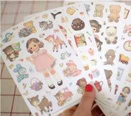 Wholesale Doll Mate - Wholesale- vintage 6 sheets 1set Afrocat doll mate diary deco paper kawaii stickers sticky note post it Decoration Label