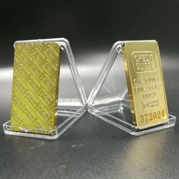 Wholesale Wholesale Gold Bullion Bars - 5 pcs The CREDIT SUISSE 1oz Pure Gold Plated Bullion Bar Replica American souvenir coin gift 50 x 28 mm laser number.