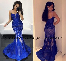 Wholesale Women Black Mesh Backless Dresses - Royal Blue Mermaid Evening Dresses 2017 Sexy Sweetheart Spaghetti Straps Appliques Lace Mesh Plus Size Backless White Women Prom Dresses