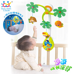 Wholesale Cartoon Baby Cot - Wholesale- Baby Nursery Cot Mobile with Musical Lullaby Sounds Rattle Baby Toys Rotating Musical Recreation Ground Bed Bell 0-12 Months