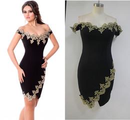 Wholesale Cheap Plus Size Midi Dresses - Short Prom Cocktail Occasion Dresses Sexy Party Robes Gold Lace Applique Black Off Shoulder Mini Dress plus size cheap gown LC22715