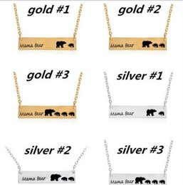 Wholesale Green Jade Pieces - 1 Piece Mother Gifts Mama Bear Gold and Silver Necklaces Letter Bear Mom and Babys