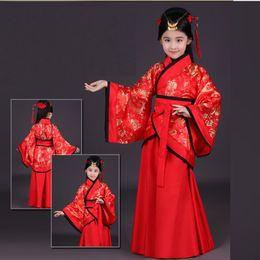 Wholesale Fairy Dresses Girls - children traditional ancient chinese silk clothing for girls hanfu dance costumes folk costume kids tang fairy dress kid opera