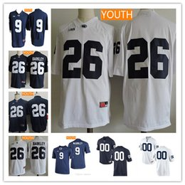Wholesale Navy Kids Shorts - Youth Penn State Nittany Lions College Football #9 Trace McSorley 26 Saquon Barkley White Navy Blue No Name Stitched Kids Jersey Size S-XL