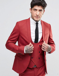 Wholesale Cool Groom Vests - New Fashion Handsome Groom Tuxedos Shawl Lapel One Button Three Pockets Groom Suits Extremely Cool Best Man Suits (Jacket+Pants+Vest )
