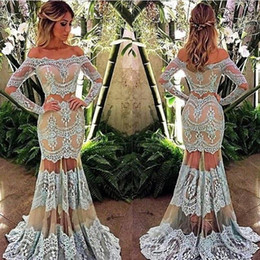 Wholesale Sexy See Through Bateau Mermaid - Arabic Boat Neck Long Sleeves Two Pieces Lace Prom Dresses Light Blue over Nude Mermaid See Through Skirt Evening Dress Custom Made