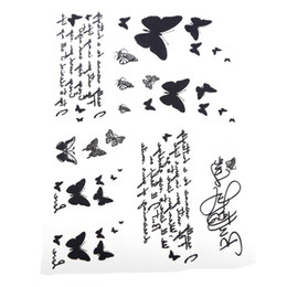 Wholesale Unique Tattoos - Wholesale-Body Art Disposable Sticker Unique Skin Tags Temporary Black Butterfly & Letter Transfer Waterproof Tattoo 14.5*9.5cm