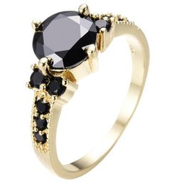 Wholesale Vintage Promise Rings - Vintage Female Male Black Cubic Zircon Ring Yellow Gold Filled Wedding Party Promise Ring Best Friend Gift Jewelry