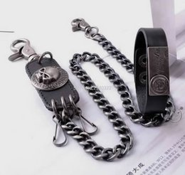 Wholesale Vintage Belly Belt - Wholesale- Fashion punk kulian male non-mainstream skull vintage hip-hop jeans belly chain trousers keychain