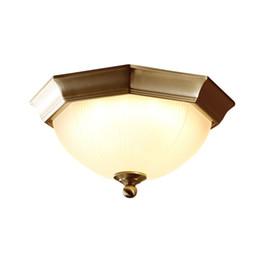 luz de techo de entrada led Rebajas OOVOV Full Copper Octagonal LED Luz de Techo Dormitorio Americano Cocina Balcón Entrada Corredor Lámparas de techo Accesorios