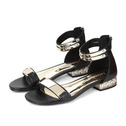 Wholesale Black White Polka Dot Heels - 2017 new sandals female summer Korean version of sequins low with high 2.5cm after the high 6cm rubber at the end of the Roman shoes 7061